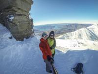 Der Gipfel an dem das Snowboard...